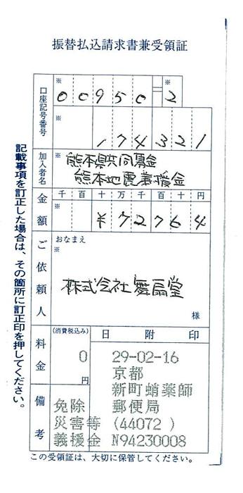 店頭募金報告(2017.03)